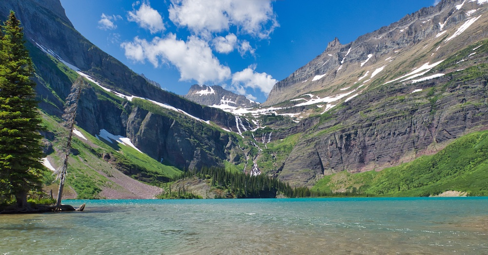 Grinnell Lake with Grinnell Falls, Glacier National Park, Many Glacier region