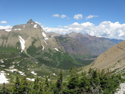 Hudson Bay Creek Valley from Triple Divide Pass Glacier National Park
