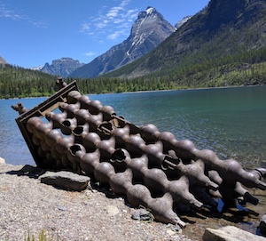 Butte Oil Company Equipment in Kintla Lake, Glacier National Park