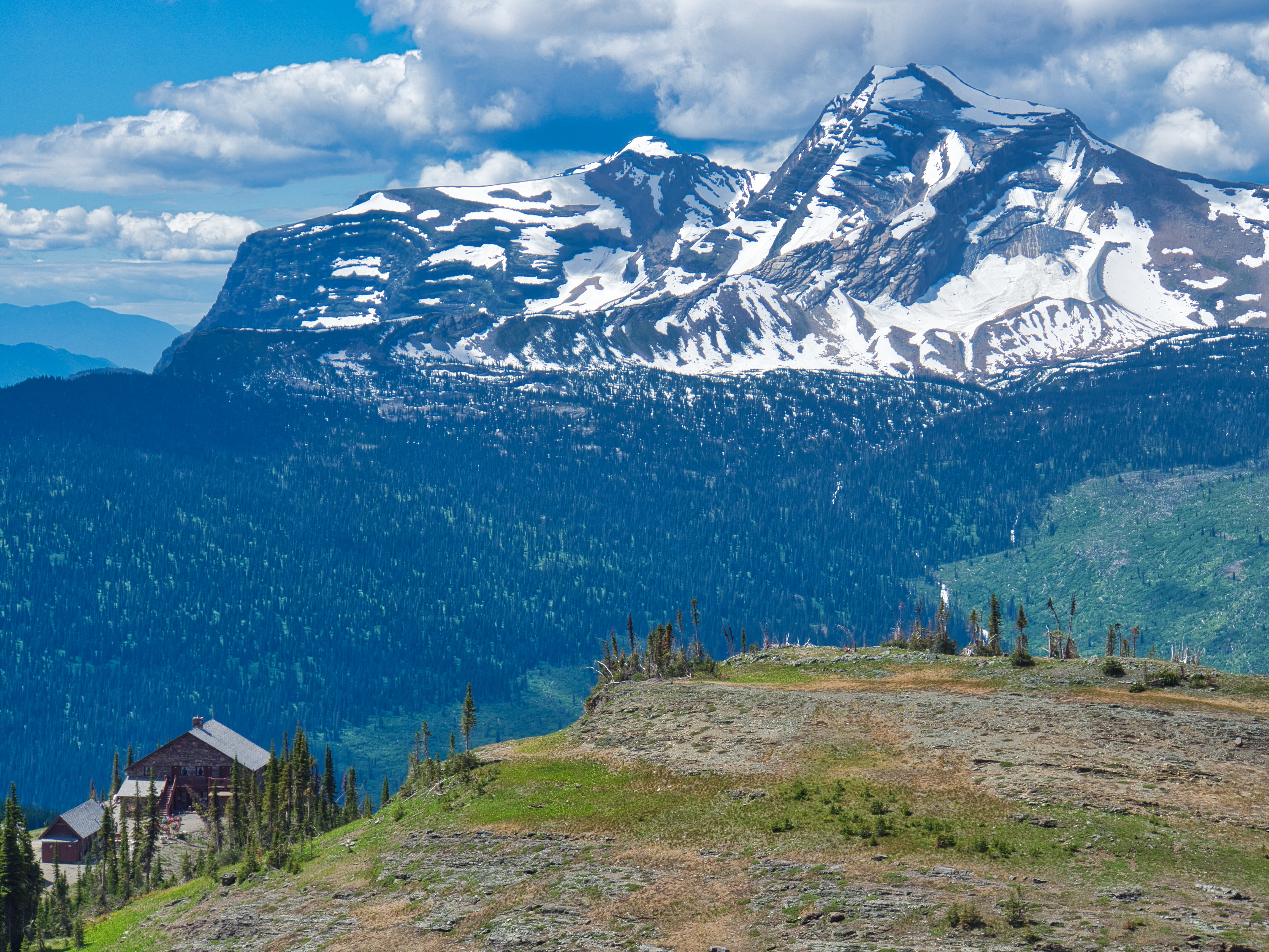 Heavens Peak with Granite Park Chalet from Trail to Swiftcurrent Pass, Glacier National Park