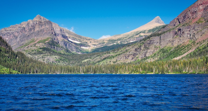 Two Medicine Lake, Mount Helen and Flinsch Peak from the Sinopah Launch, Glacier National Park