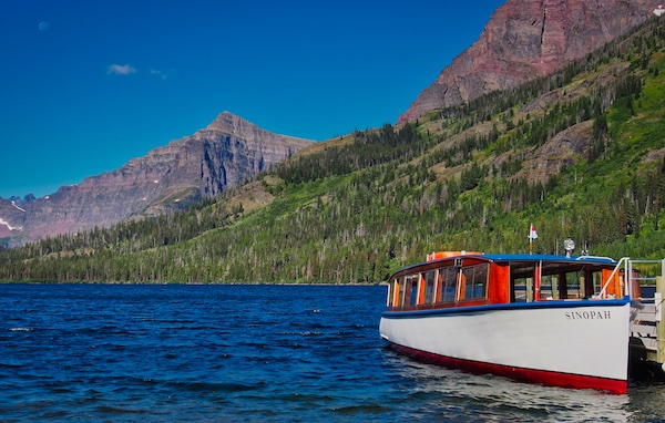 Two Medicine Lake and the historic boat Sinopah