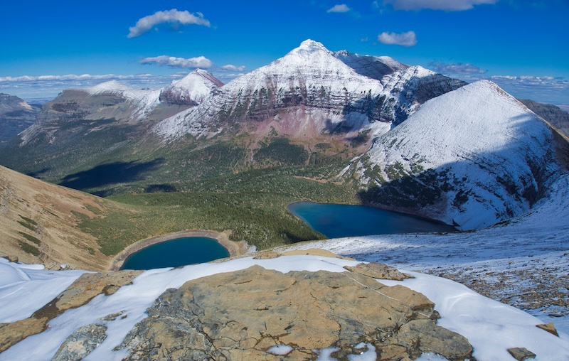 Seven Winds of the Lake and Pitamakan Lake with Red Mountain, Glacier National Park