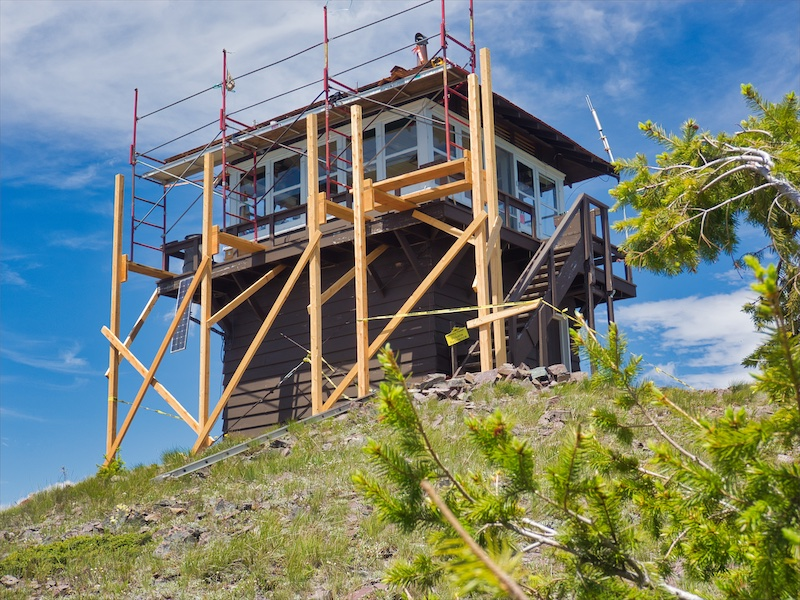 Maintenance Work on the 1933 Huckleberry Fire Lookout 2018, Glacier National Park