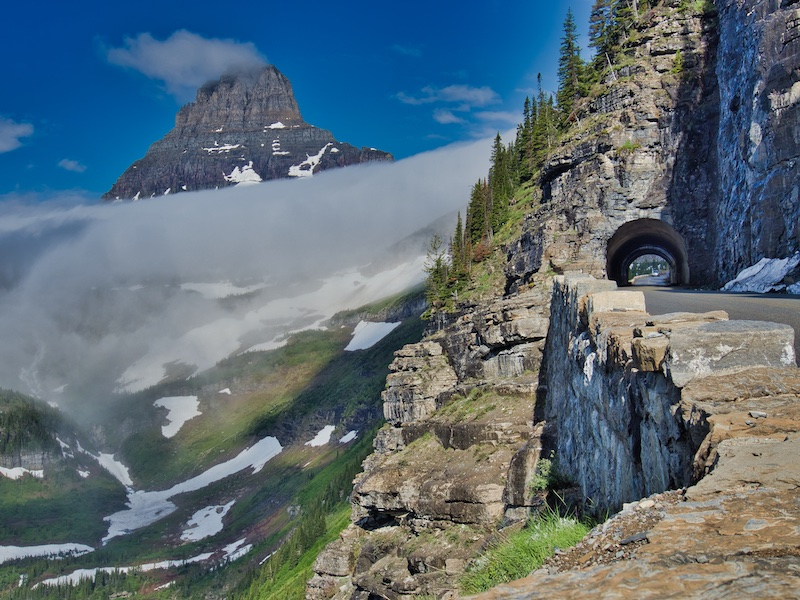 The East Tunnel on the Going-to-the-Sun Road and Clements Mountain Glacier National Park