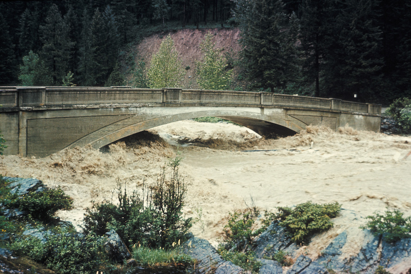 Glacier National Park, 1964 Flood at Belton Bridge