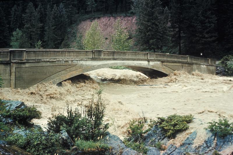 Glacier National Park, 1964 Flood at Belton Bridge