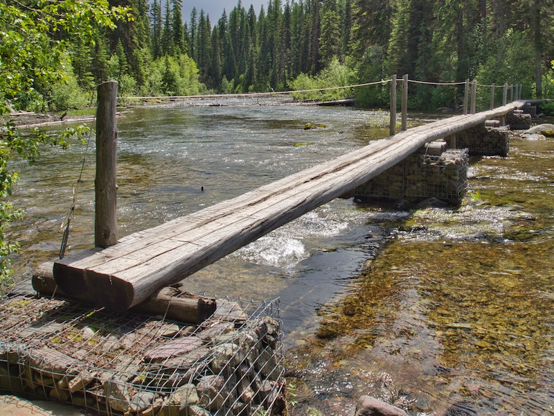 Hikers bridge over Quartz Creek, Glacier National Park
