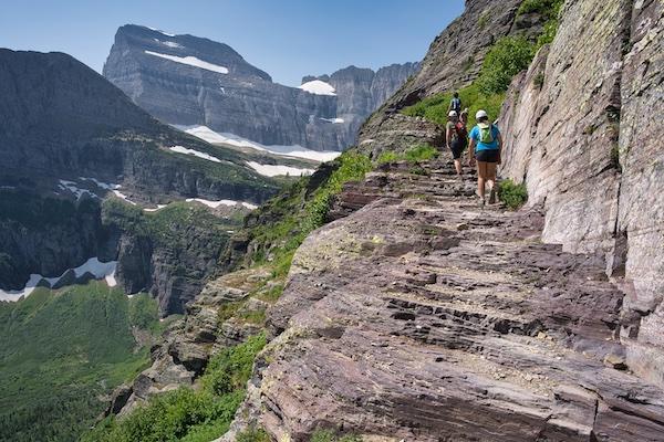 Glacier National Park, Many Glacier Region, Grinnell Glacier Trail - cliffs